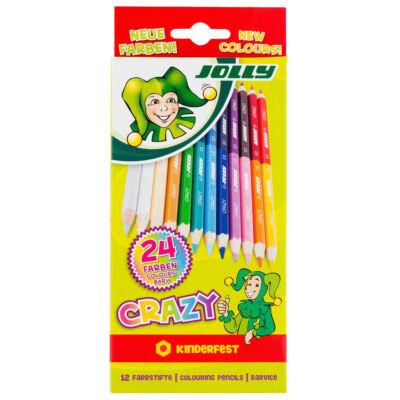 Színes ceruza 12/klt JOLLY Crazy kétvégű 24 szín