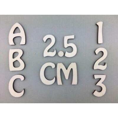 OB3 2,5 cm natúr betűk, számok