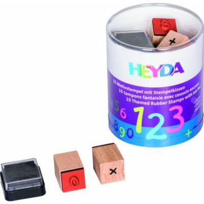 HEYDA 15 darabos, számolós fa pecsétnyomó + fekete bély.párna