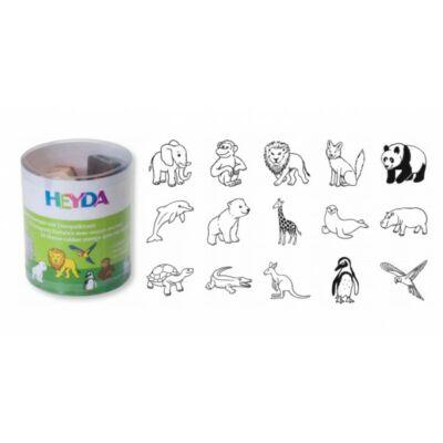 HEYDA 15 darabos, állatos fa pecsétnyomó + fekete bély.párna